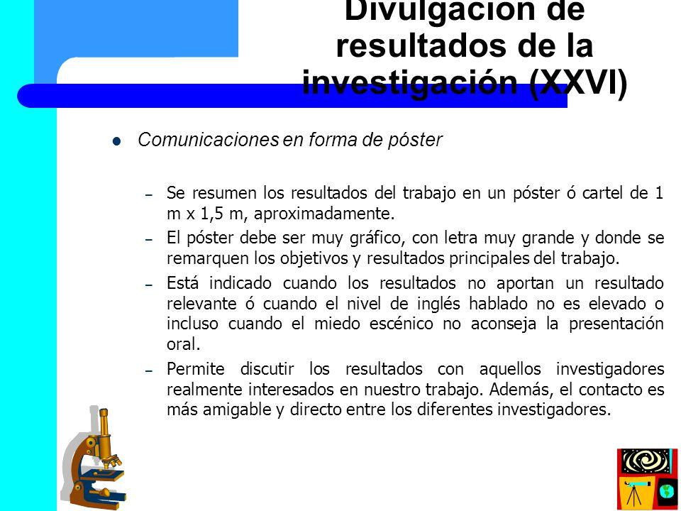 Divulgación de resultados de la investigación (XXVI)