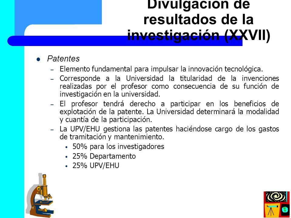 Divulgación de resultados de la investigación (XXVII)