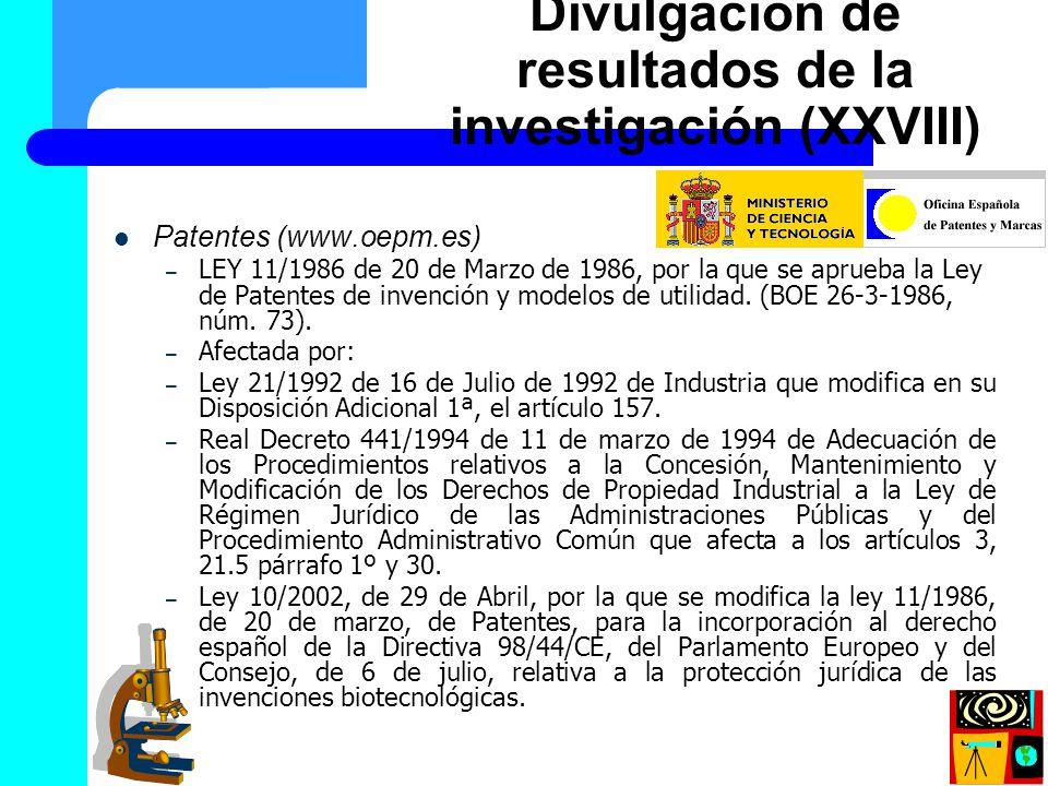 Divulgación de resultados de la investigación (XXVIII)