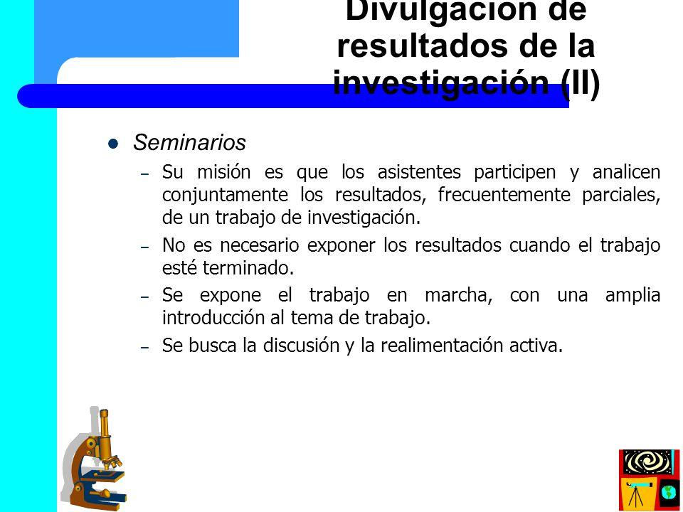 Divulgación de resultados de la investigación (II)