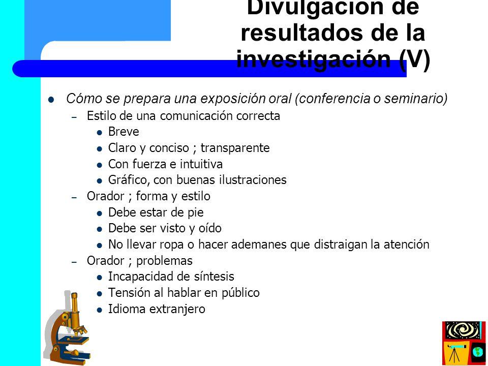 Divulgación de resultados de la investigación (V)