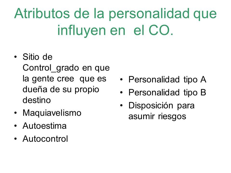 Atributos de la personalidad que influyen en el CO.