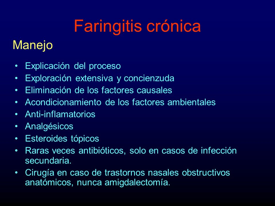 Faringitis crónica Manejo Explicación del proceso