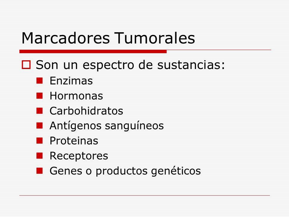 Marcadores Tumorales Son un espectro de sustancias: Enzimas Hormonas
