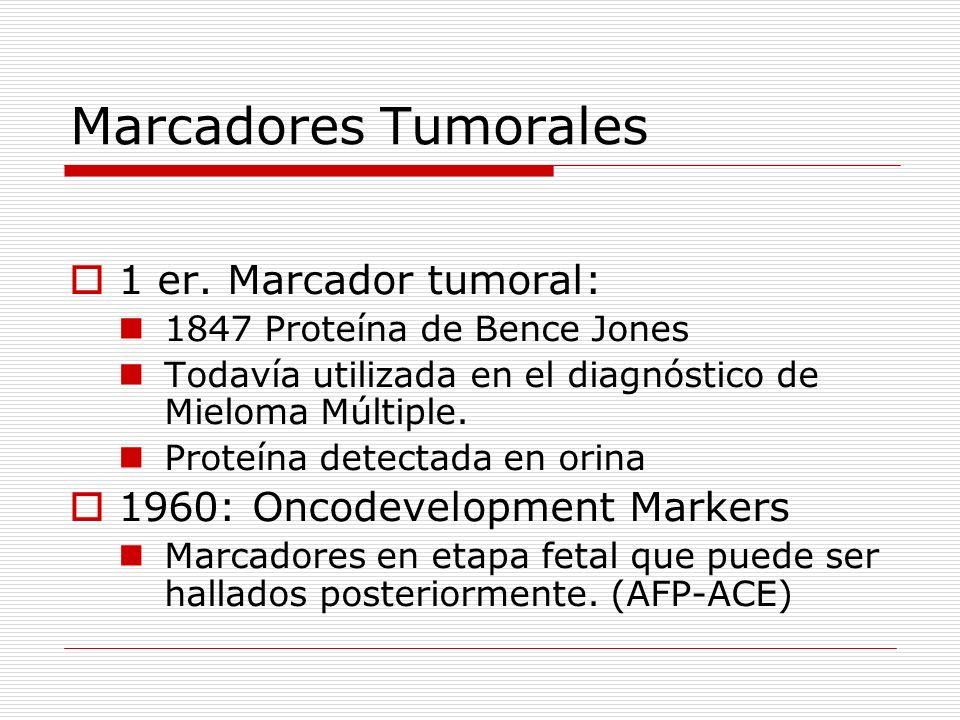 Marcadores Tumorales 1 er. Marcador tumoral: