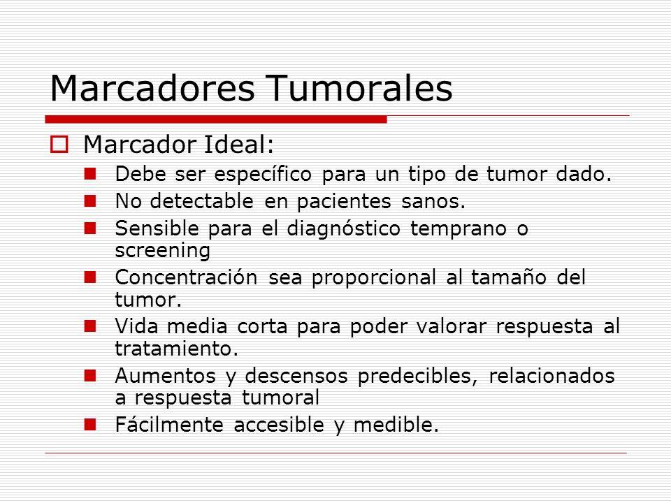 Marcadores Tumorales Marcador Ideal: