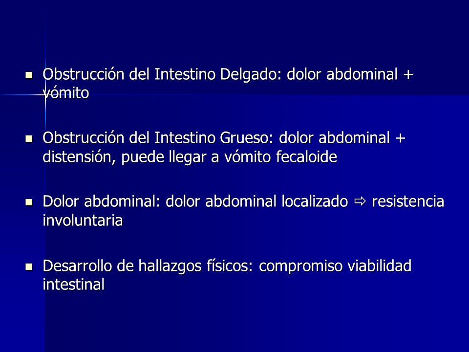 Obstrucción del Intestino Delgado: dolor abdominal + vómito