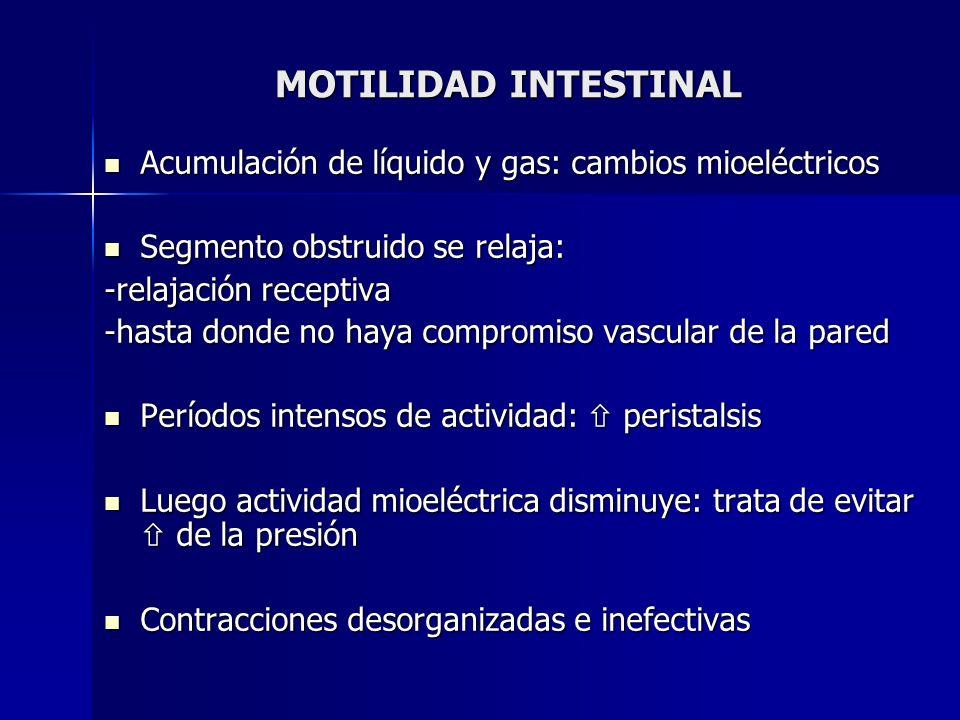 MOTILIDAD INTESTINAL Acumulación de líquido y gas: cambios mioeléctricos. Segmento obstruido se relaja: