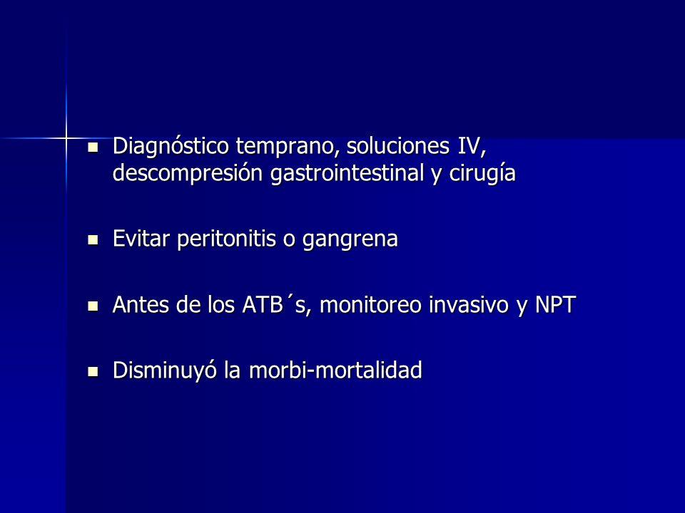 Diagnóstico temprano, soluciones IV, descompresión gastrointestinal y cirugía