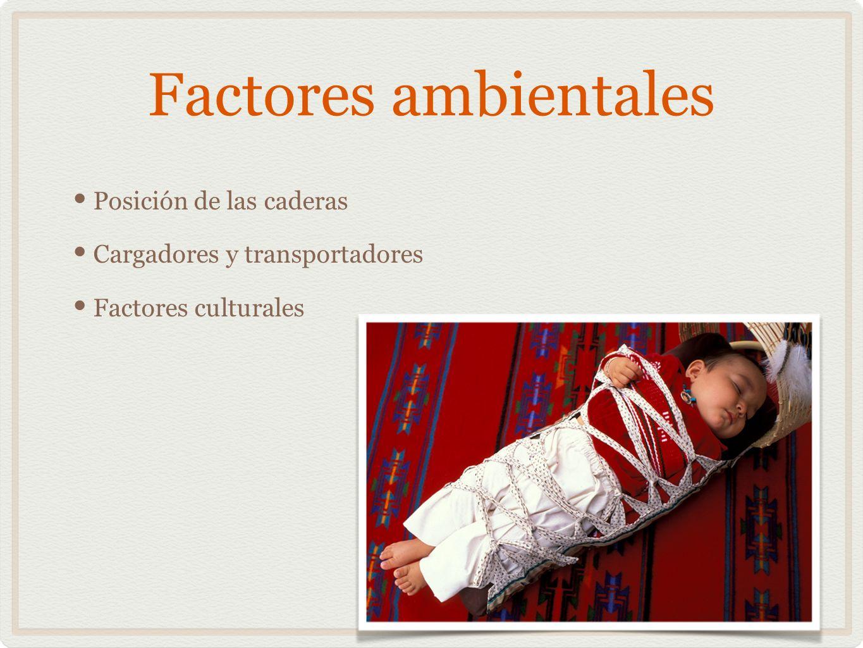 Factores ambientales Posición de las caderas