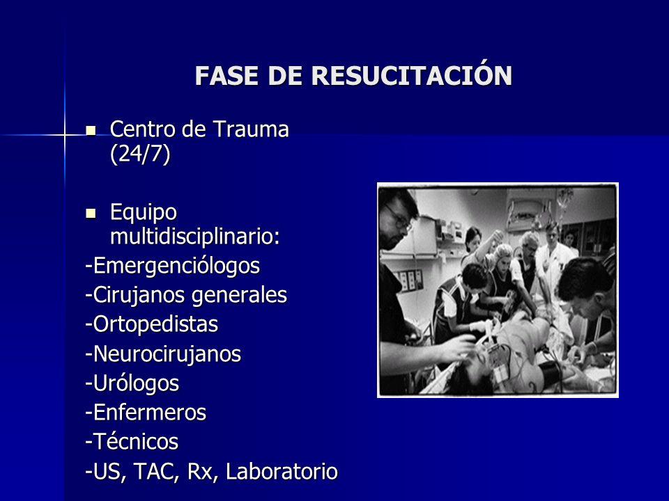 FASE DE RESUCITACIÓN Centro de Trauma (24/7)