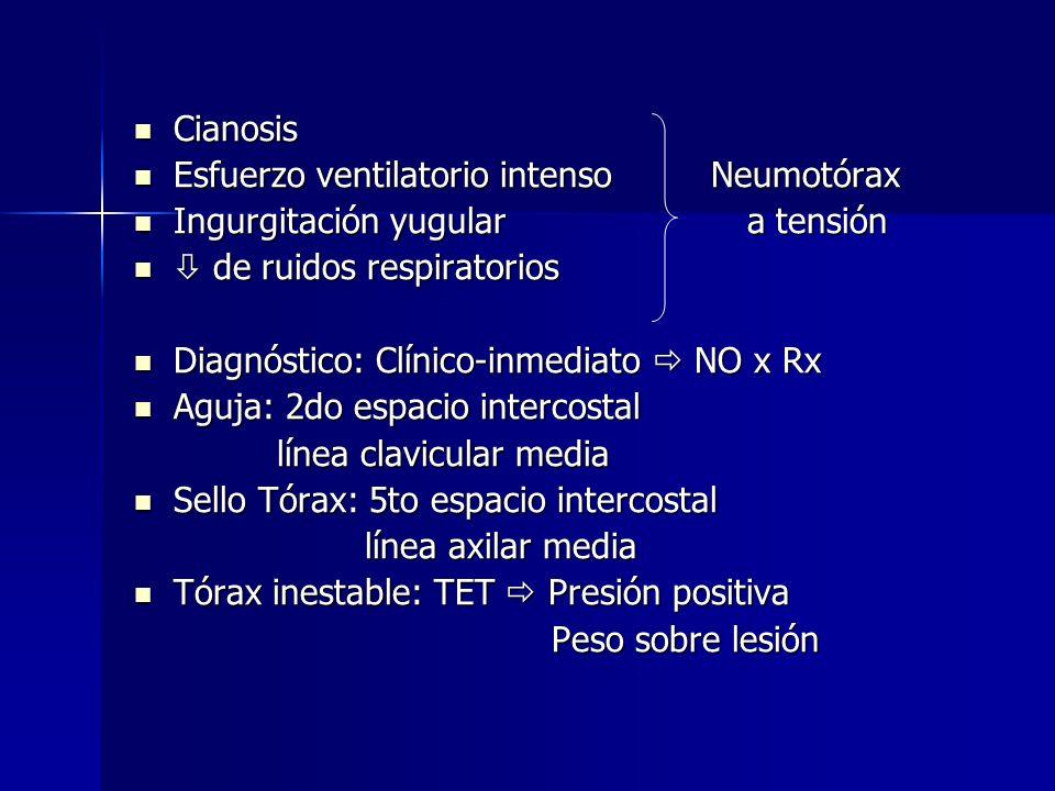 Cianosis Esfuerzo ventilatorio intenso Neumotórax. Ingurgitación yugular a tensión.