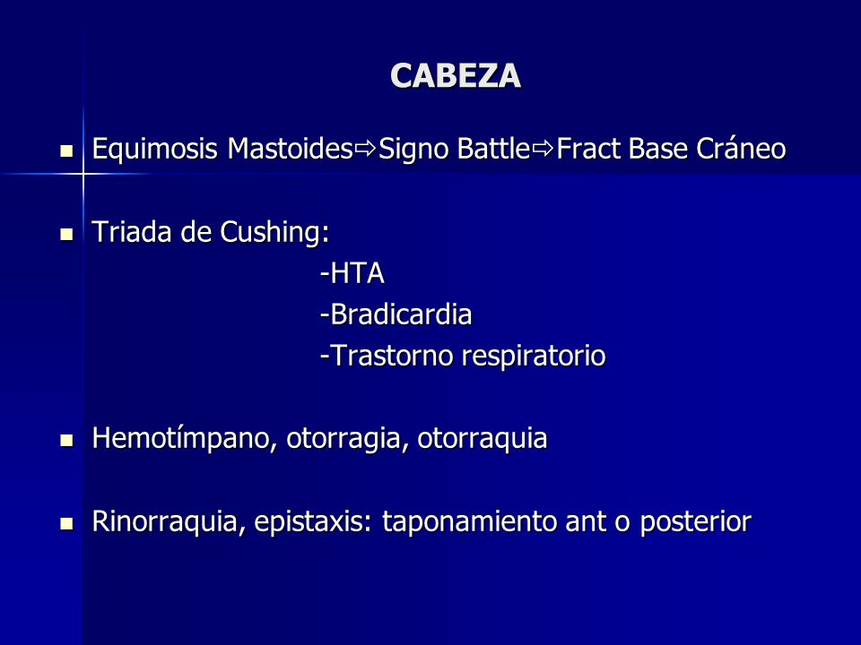 CABEZA Equimosis MastoidesSigno BattleFract Base Cráneo