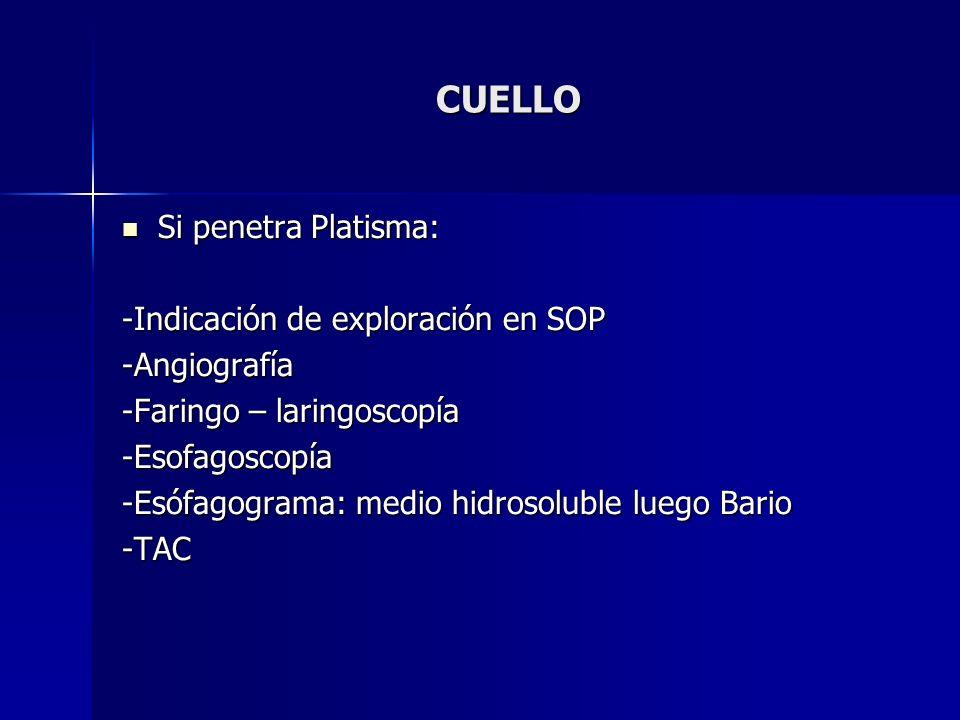 CUELLO Si penetra Platisma: -Indicación de exploración en SOP
