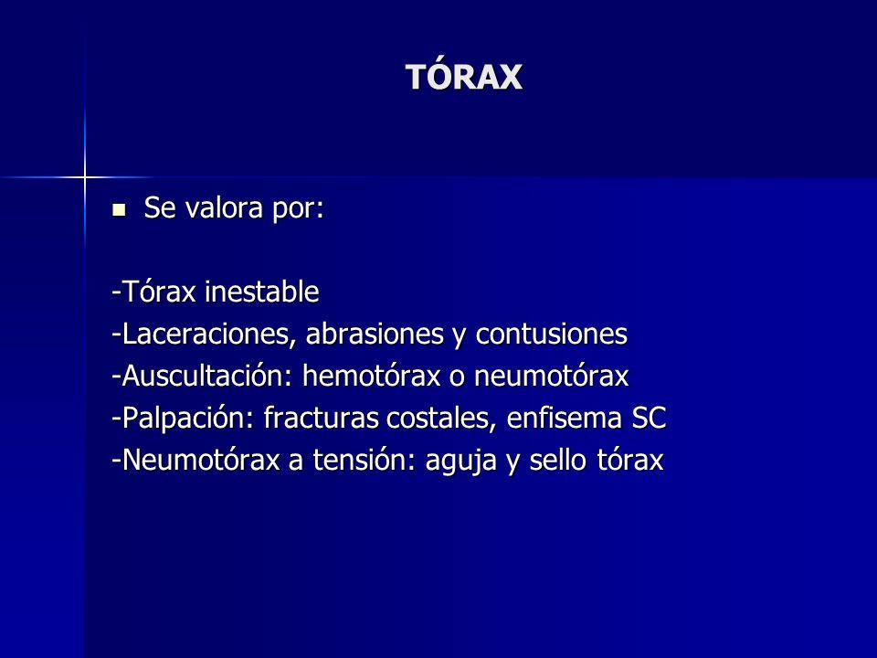 TÓRAX Se valora por: -Tórax inestable