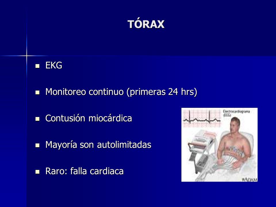 TÓRAX EKG Monitoreo continuo (primeras 24 hrs) Contusión miocárdica