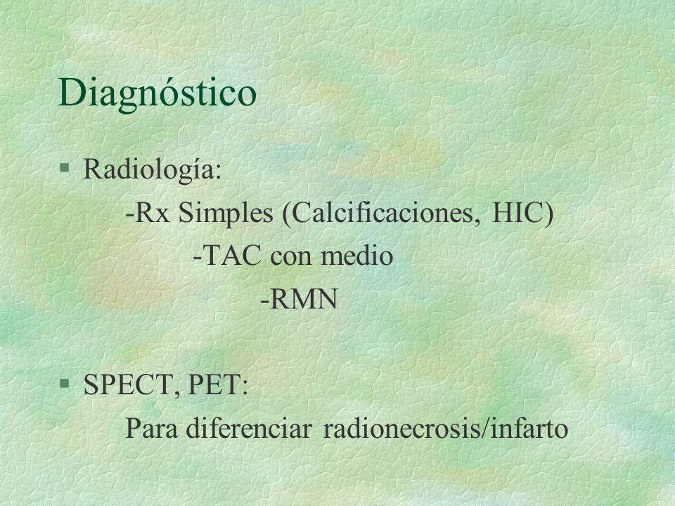 Diagnóstico Radiología: -Rx Simples (Calcificaciones, HIC)