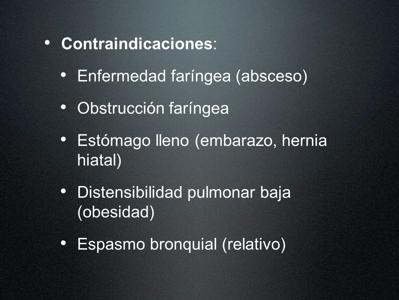 Contraindicaciones:Enfermedad faríngea (absceso) Obstrucción faríngea. Estómago lleno (embarazo, hernia hiatal)
