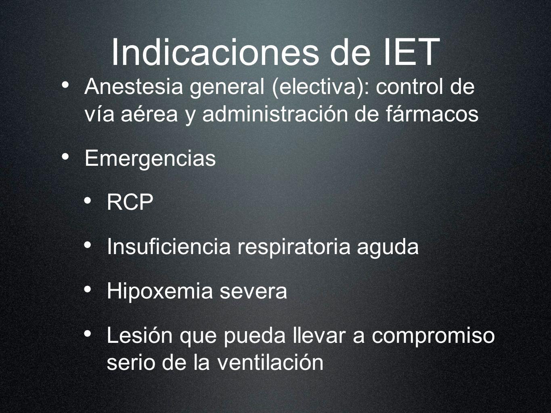 Indicaciones de IET Anestesia general (electiva): control de vía aérea y administración de fármacos.
