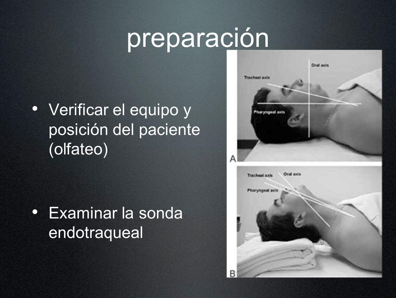 preparación Verificar el equipo y posición del paciente (olfateo)