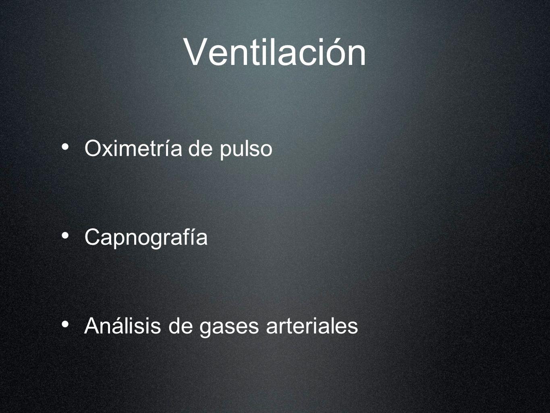 Ventilación Oximetría de pulso Capnografía