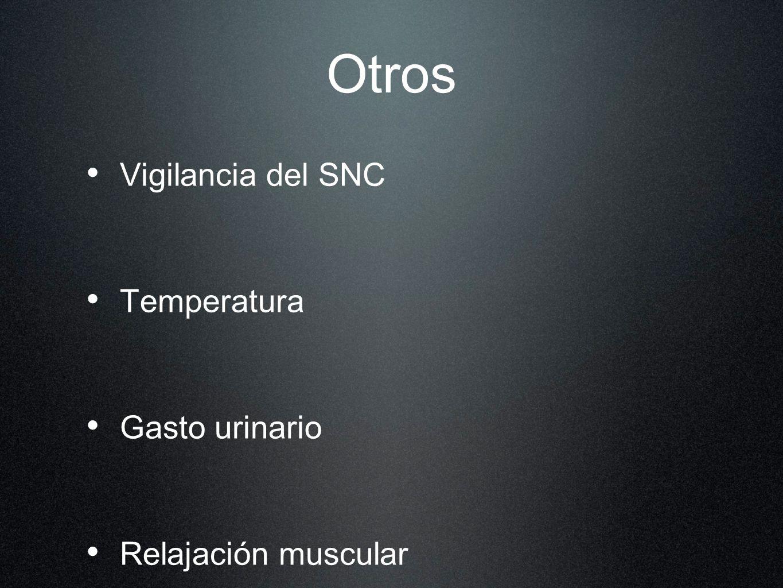 Otros Vigilancia del SNC Temperatura Gasto urinario