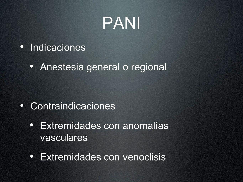 PANI Indicaciones Anestesia general o regional Contraindicaciones