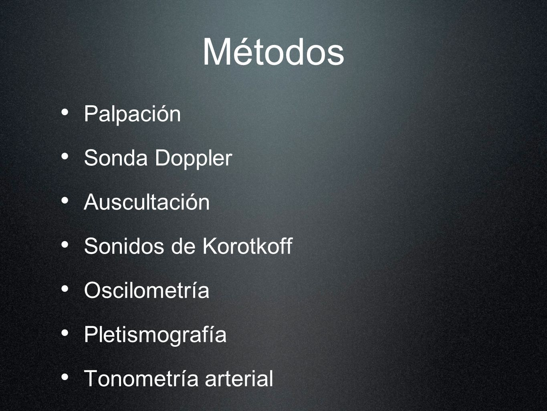 Métodos Palpación Sonda Doppler Auscultación Sonidos de Korotkoff
