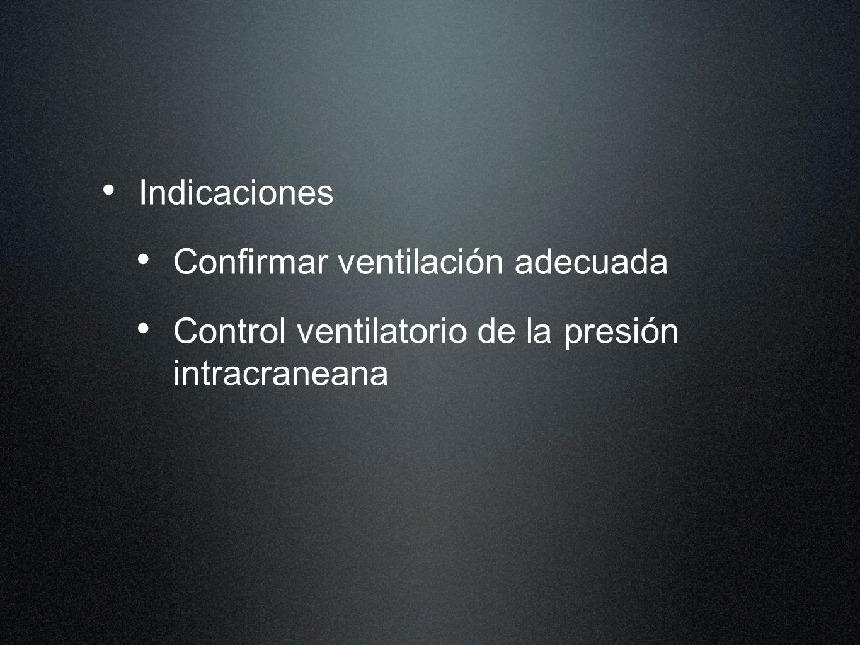 Indicaciones Confirmar ventilación adecuada Control ventilatorio de la presión intracraneana