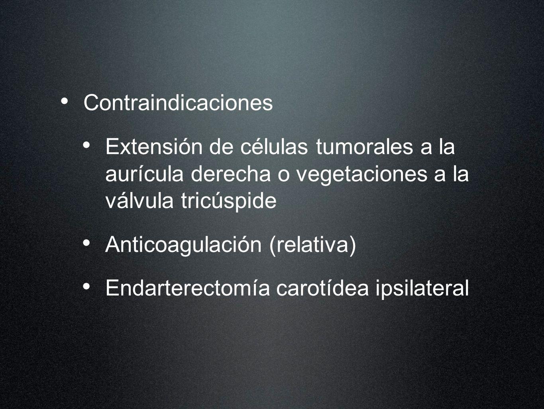 ContraindicacionesExtensión de células tumorales a la aurícula derecha o vegetaciones a la válvula tricúspide.