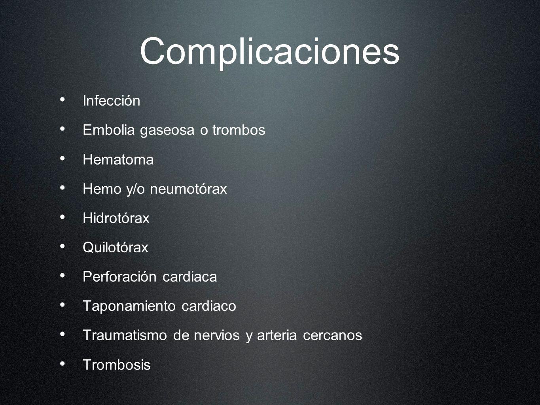 Complicaciones Infección Embolia gaseosa o trombos Hematoma