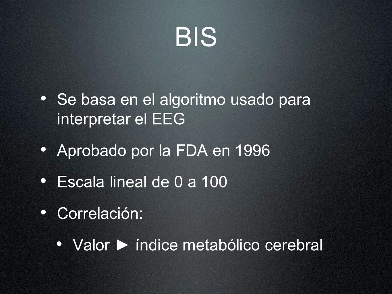 BIS Se basa en el algoritmo usado para interpretar el EEG