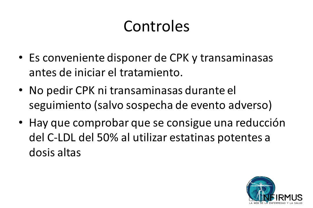 Controles Es conveniente disponer de CPK y transaminasas antes de iniciar el tratamiento.
