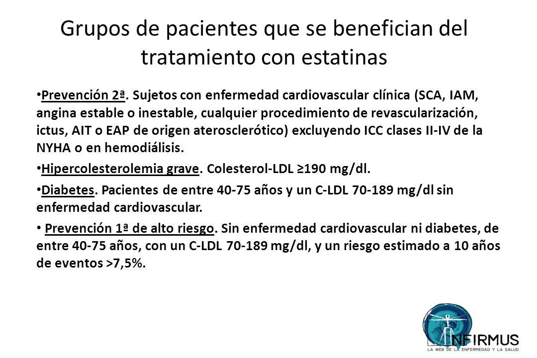 Grupos de pacientes que se benefician del tratamiento con estatinas