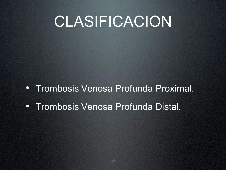 CLASIFICACION Trombosis Venosa Profunda Proximal.