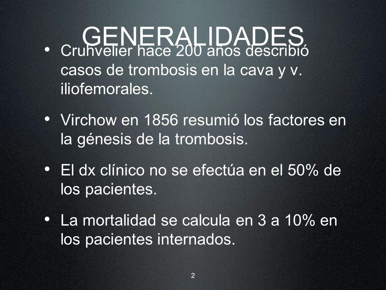 GENERALIDADES Cruhvelier hace 200 años describió casos de trombosis en la cava y v. iliofemorales.