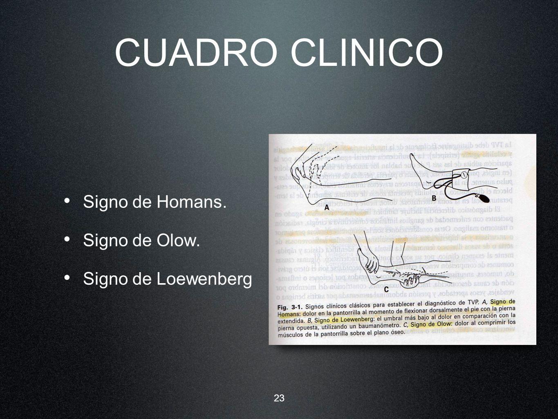 CUADRO CLINICO Signo de Homans. Signo de Olow. Signo de Loewenberg