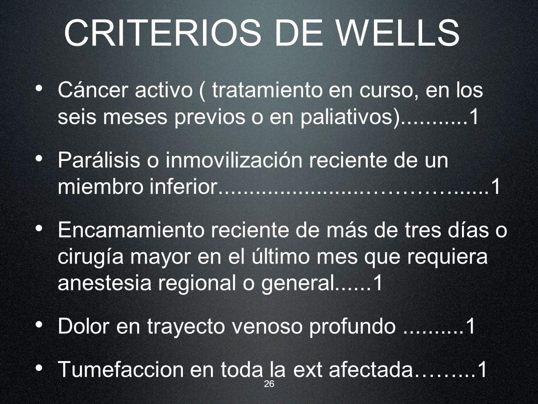 CRITERIOS DE WELLS Cáncer activo ( tratamiento en curso, en los seis meses previos o en paliativos)...........1.