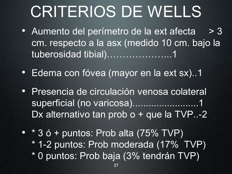 CRITERIOS DE WELLS Aumento del perímetro de la ext afecta > 3 cm. respecto a la asx (medido 10 cm. bajo la tuberosidad tibial)………………...1.