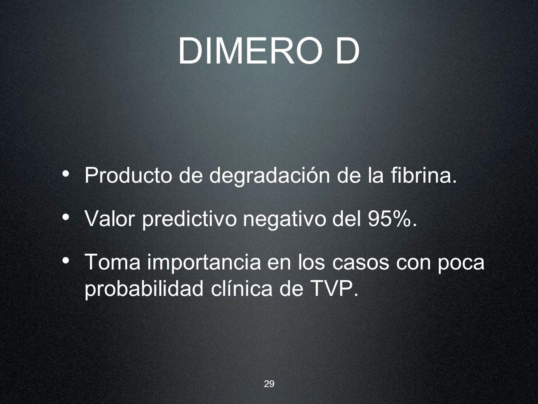 DIMERO D Producto de degradación de la fibrina.