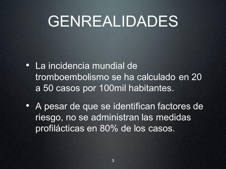 GENREALIDADES La incidencia mundial de tromboembolismo se ha calculado en 20 a 50 casos por 100mil habitantes.