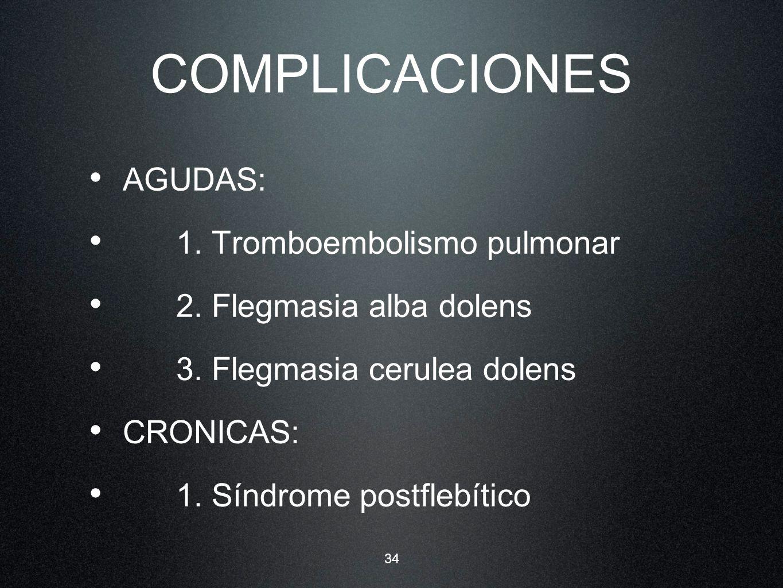 COMPLICACIONES AGUDAS: 1. Tromboembolismo pulmonar