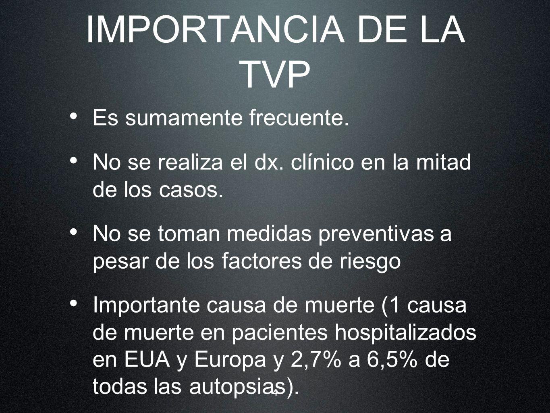 IMPORTANCIA DE LA TVP Es sumamente frecuente.