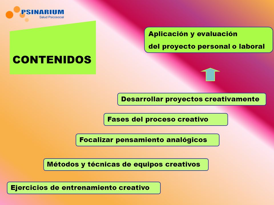 CONTENIDOS Aplicación y evaluación del proyecto personal o laboral