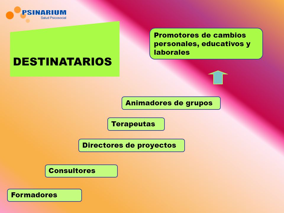 DESTINATARIOS Promotores de cambios personales, educativos y laborales