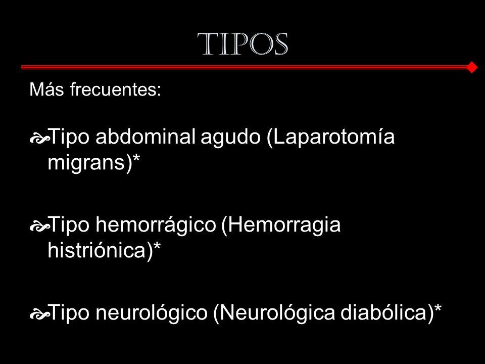 Tipos Tipo abdominal agudo (Laparotomía migrans)*