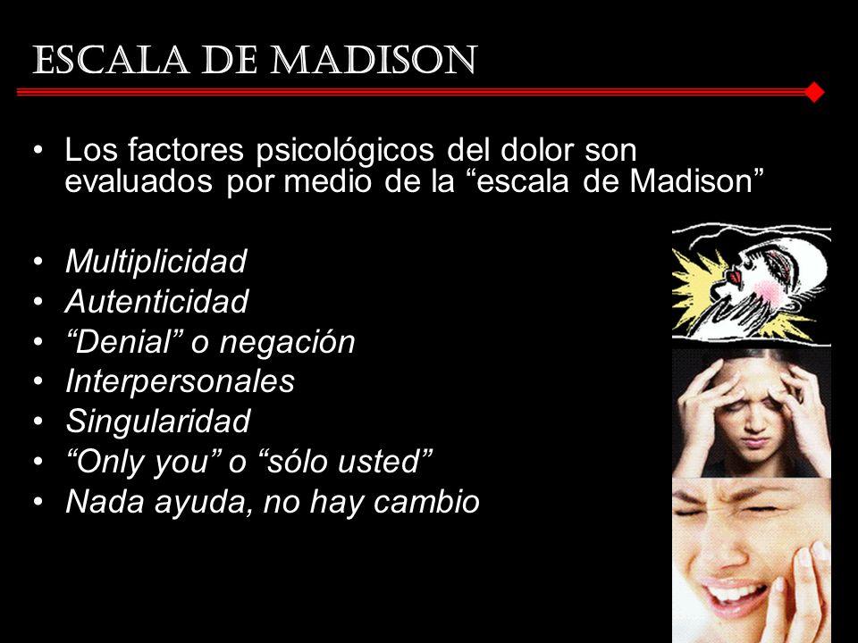 ESCALA DE MADISON Los factores psicológicos del dolor son evaluados por medio de la escala de Madison