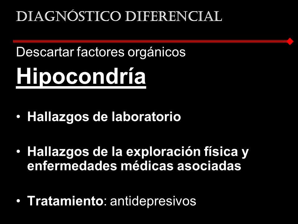 Hipocondría Diagnóstico diferencial Descartar factores orgánicos