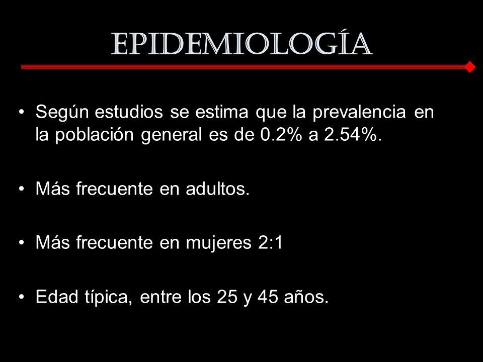 Epidemiología Según estudios se estima que la prevalencia en la población general es de 0.2% a 2.54%.