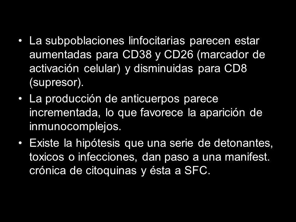 La subpoblaciones linfocitarias parecen estar aumentadas para CD38 y CD26 (marcador de activación celular) y disminuidas para CD8 (supresor).